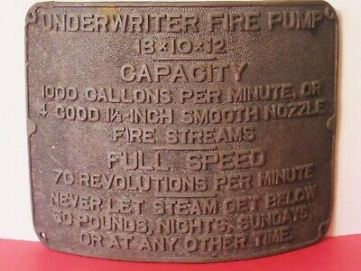 £89.91 • Buy Early 1900's Brass Underwriter Fire Pump Curved Plaque/Sign