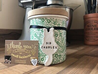 Cat Treat Biscuit Jar Personalised Label With Your Pet Name Or Memory Keepsake • 2.99£