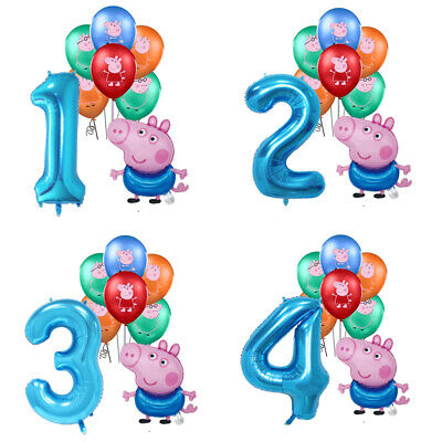 £8.99 • Buy Set Of Peppa Pig George Foil Number Balloons Children Birthday Party Latex