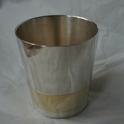 CHRISTOFLE Silver Cup Mug Heavy Gold Band Christening Wine Goblet Mid Century  • 35£