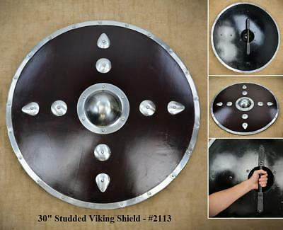 30  Large Round Steel Plated Viking Shield For Re-enactment Stage Or Decoration • 72£