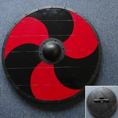 30  Hand Made Large Round Black & Red Timber Viking Shield - Re-enactment Stage • 76£