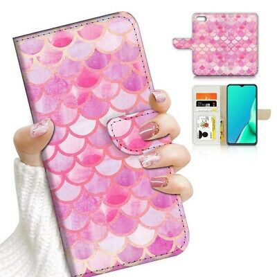 AU12.99 • Buy ( For Oppo A57 ) Wallet Flip Case Cover AJ24096 Pink Mermaid Scale