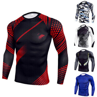 Men Long Sleeve Compression Base Layer Top Sport Gym Fitness Thermal Tee Shirt • 11.67£