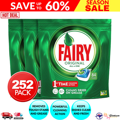 AU80.26 • Buy Fairy Dishwasher Tablets All In One 252PK Rinse & Clean Dishwashing Clean Action