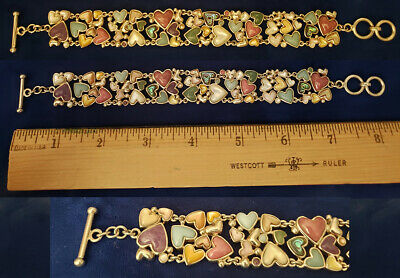 $ CDN169.38 • Buy WK Whitney Kelly Sterling Silver Colorful Stone Hearts Toggle Bracelet Br144