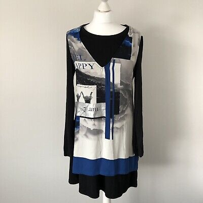 Miss Captain Graphic Tunic Top Dress Eu 42 Uk 14 • 5£