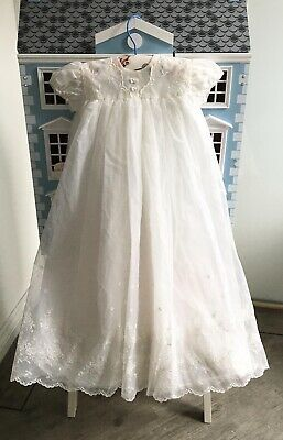 1960s, Vintage, 3 - 6 Months Baby Girl's, Christening Gown, Lace, Broderie   • 13.99£
