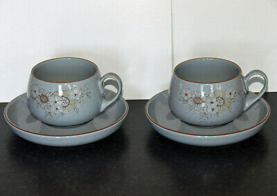 Denby Reflections Pattern Two Cups & Saucers Set 2 • 8£