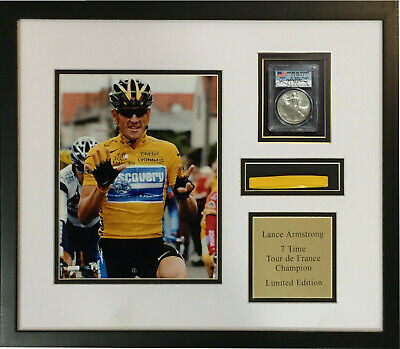 Lance Armstrong Signed 2003 MS69 American Silver Eagle Framed Photo Collage COA • 361.79£