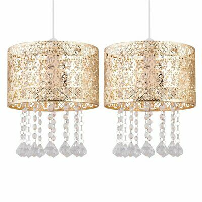 £27.99 • Buy Modern Pair Of Gold Metal Jewelled Easy Fit Ceiling Light Shade Chandeliers