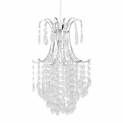 Chandelier Style Easy Fit Ceiling Light Shade Jewelled Lampshade Pendant • 19.99£