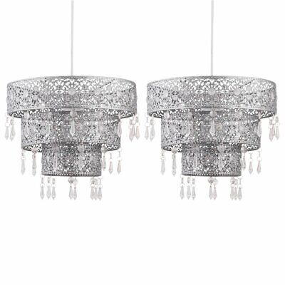 Set Of 2 Silver 3 Tier Jewelled Ceiling Light Shade Pendants Bedroom Lightshades • 29.99£