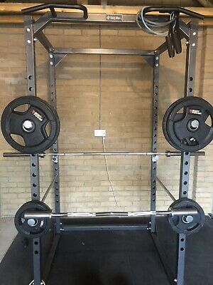 POWER RACK & BENCH & 105Kg Rubber Encased Tri-Grip Olympic Set With Olympic Bar • 670£