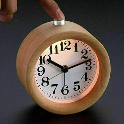 Home Electronic Small LED Round Wooden Alarm Clock Silent Night Light Functions • 16.55£