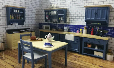 Dolls House Emporium Miniature 1/12th Scale Blue Modern Kitchen Units - Various • 23.95£