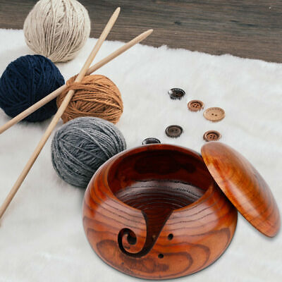 Wooden Yarn Bowl Holder With Lid Skeins Knitted Crochet Thread Storage Bowl • 18.39£