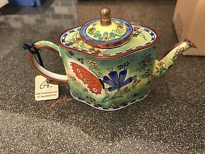 TRADE PLUS AIR HAND PAINTED ENAMEL TEAPOT EDT NUM 399 Butterfly SCENE 3.5 INCH • 17.95£