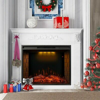 1.8KW Electric Fireplace 30'' Log Burning LED Flame Effect Standing Fan Heater • 135.99£