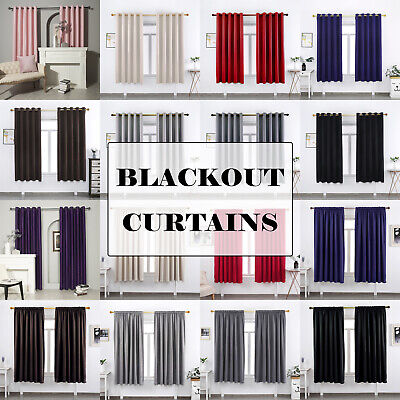 2 Panels Ready Made Blackout Curtains Thermal Ring Top Eyelet Or Pencil Pleat • 16.99£