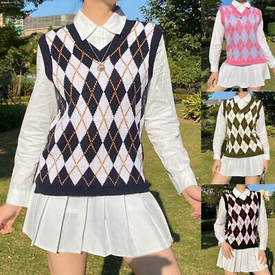 Women Preppy Style V-Neck Knitted Vest Argyle Plaid Pullover Sweater Tank Top • 10.33£