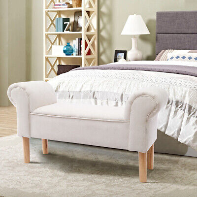 Linen Ottoman Window Seat Chaise Longue Sofa Bed End Chair Bench Bedroom Bedding • 87.95£