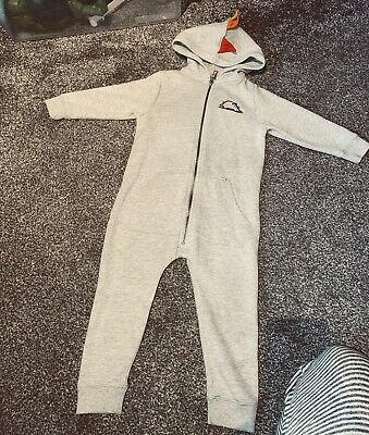 Next Boys All In One Jumpsuit Worn Once Age 2-3 Romper Dinosaur Grey • 2.20£