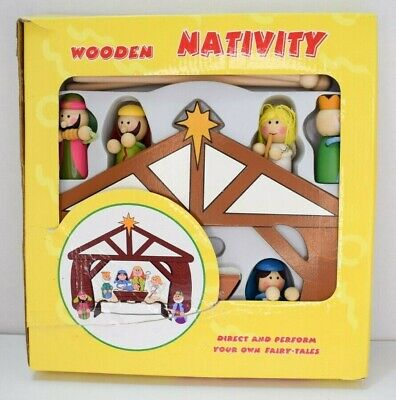 Childrens / Kids Christmas Wooden Nativity Scene Toy Play Set - Missing 1 Figure • 10£