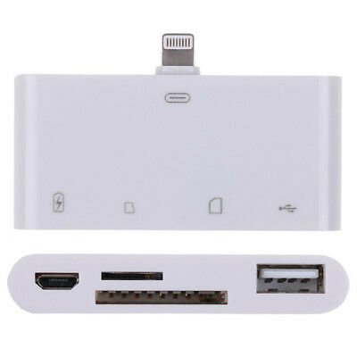 G53 4in1 USB SD Tf Light Ning Card Reader Adapter Charge Keyboard IPAD IPHONE • 14.54£