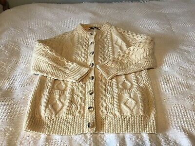 Hand Knitted Pure Wool ARAN CARDIGAN Size L 40  Cable Knit Natural Cream Colour • 5£