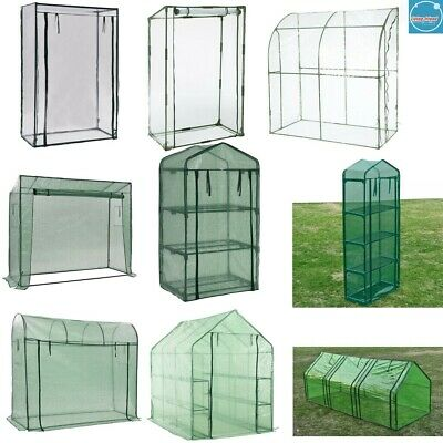 Walk-in Greenhouse PVC Plastic Outdoor Garden Grow Green House W/ Shelf & Door • 35.49£