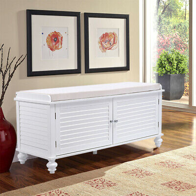 Storage Bench Wood 2 Cabinet Cushioned Padded Seat Chest Box Hallway Living Room • 119.94£