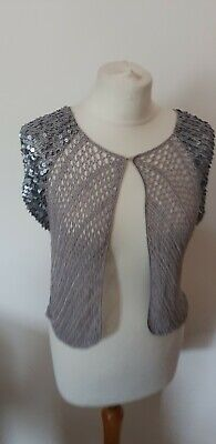 £11 • Buy Debut Silver Crochet Sequined Cardigan Shrug Size M Christmas Party