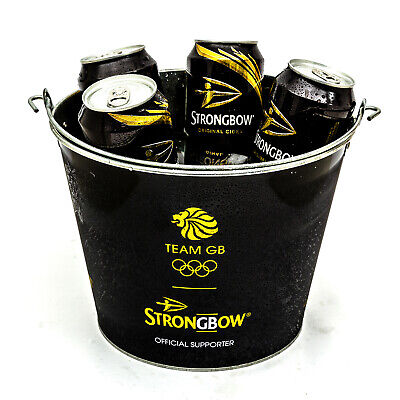 Strongbow Black Metal Ice Bucket Party Drink Holder Cooler Home Bar Pub 5 Cans • 6.40£
