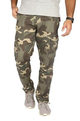 £14.99 • Buy Mens Army Cargo Combat Camouflage Trouser 100%Cotton Pant Straight Leg Work Wear