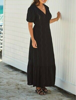 NEXT Black Broderie Anglaise Maxi Wrap Dress Size 10 BNWT RRP £55 Holiday Beach  • 14.99£