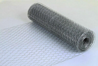 Galvanised Chicken Wire Mesh Fence Net Rabbit Netting Fencing Cages Runs Pens • 19.99£