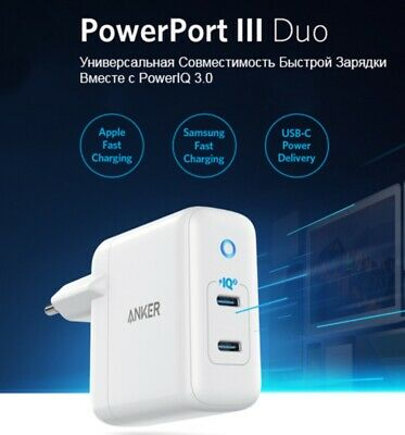 AU51.52 • Buy ANKER PowerPort III Duo 36W USB-C Power Delivery Compact Wall Charger For Apple