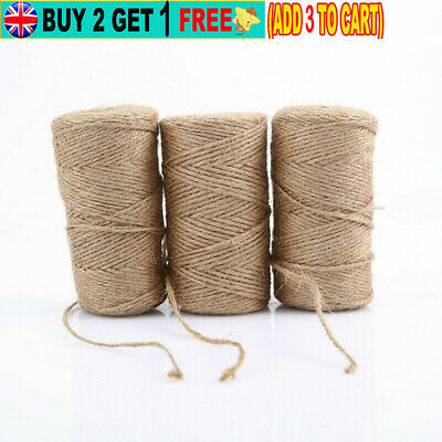 Natural Jute Twine String Rope For Floristry Gifts DIY Arts Bunding L10/50/100M • 4.27£