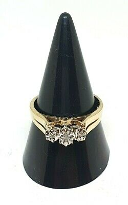 Beautiful 9ct Yellow Gold 3 Stone Diamond Chip Ring 2.6g Size N 1/2 MUST SEE • 99.99£