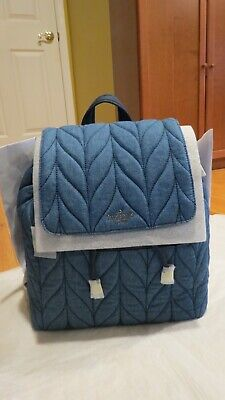 $ CDN162.39 • Buy Kate Spade NY Ellie Large Flap Backpack Blue Denim Quilted BLOWOUT $299 Auth NWT