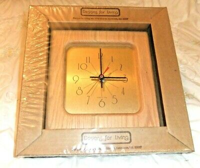 American Oak Wall Clock With Square Gold Face. Battery Operated Quartz Movement • 12£