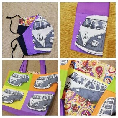 Retro  Camper Van Shopping Bag With Matching Face Covering & Glasses Case • 24.99£