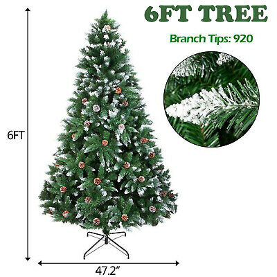 6ft Large Artificial Christmas Tree Snow & Cones Realistic Xmas Decoration Set • 16.95£
