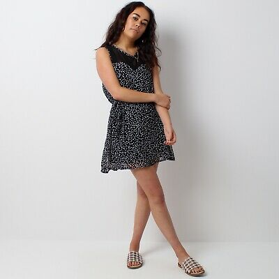£10 • Buy Hearts And Bows Black White Chiffon Polka Dot Fit And Flare Tea Dress - Size 6
