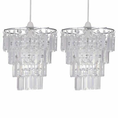 Set Of 2 Easy Fit Ceiling Light Shades Acrylic Crystal 4 Tier Chandelier Design • 25.99£