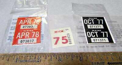 $2.99 • Buy Older License Plate Sticker Tags, Maine 0ct 1977, Maine Apr 78 & Mich 1975, NEW