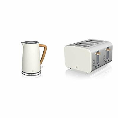 Swan Nordic 1.7 Litre Jug Kettle And 4 Slice Toaster Slate Cotton White • 139.99£