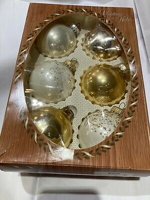 $ CDN11.44 • Buy Christmas By Krebs Vintage Gold Glitter Glass Ornaments Hand Painted Set Of 6!