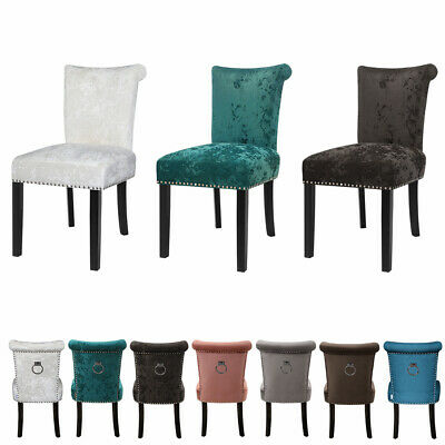 £149.95 • Buy 2x Crushed Velvet Dining Chairs Knocker Back/Ring Back Padded Seat Kitchen Chair